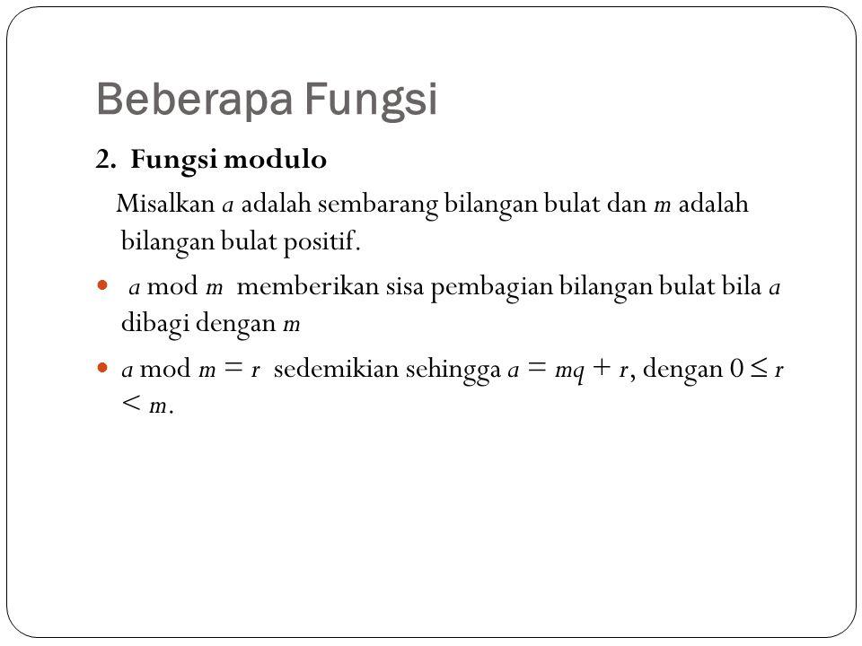 Beberapa Fungsi 2. Fungsi modulo
