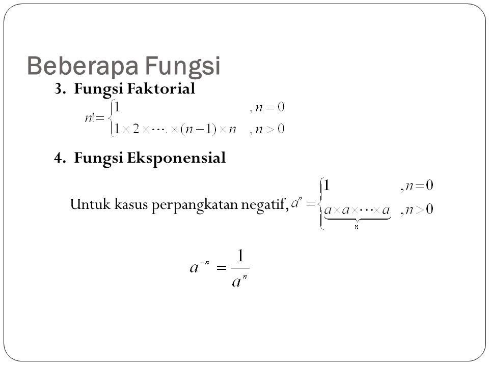 Beberapa Fungsi 3. Fungsi Faktorial 4. Fungsi Eksponensial