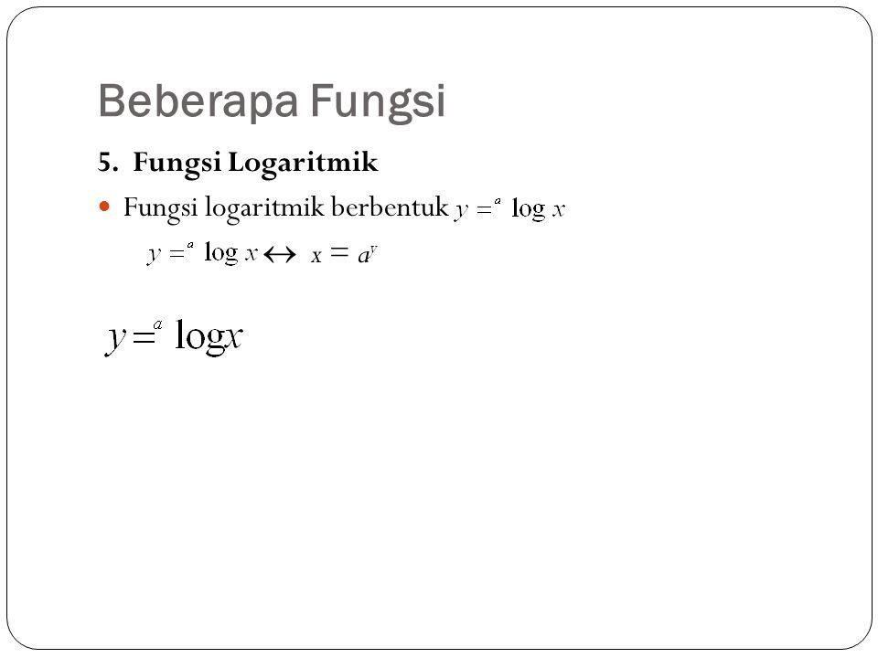 Beberapa Fungsi 5. Fungsi Logaritmik Fungsi logaritmik berbentuk