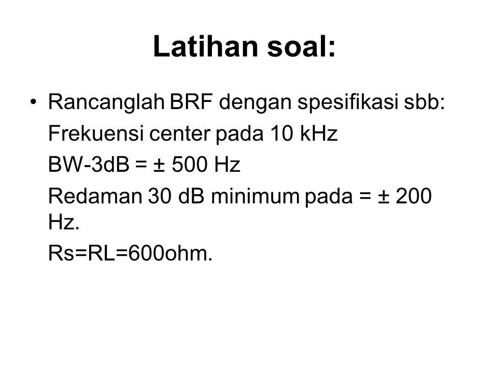 Latihan soal: Rancanglah BRF dengan spesifikasi sbb: