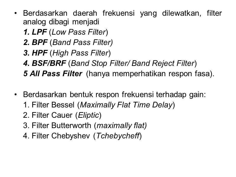 Berdasarkan daerah frekuensi yang dilewatkan, filter analog dibagi menjadi