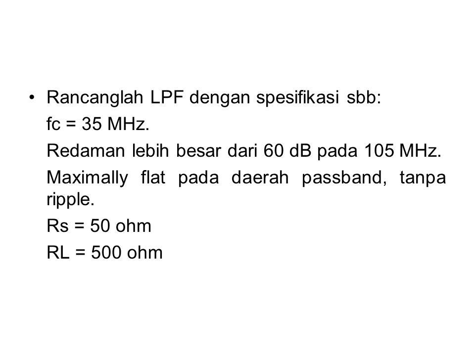 Rancanglah LPF dengan spesifikasi sbb: