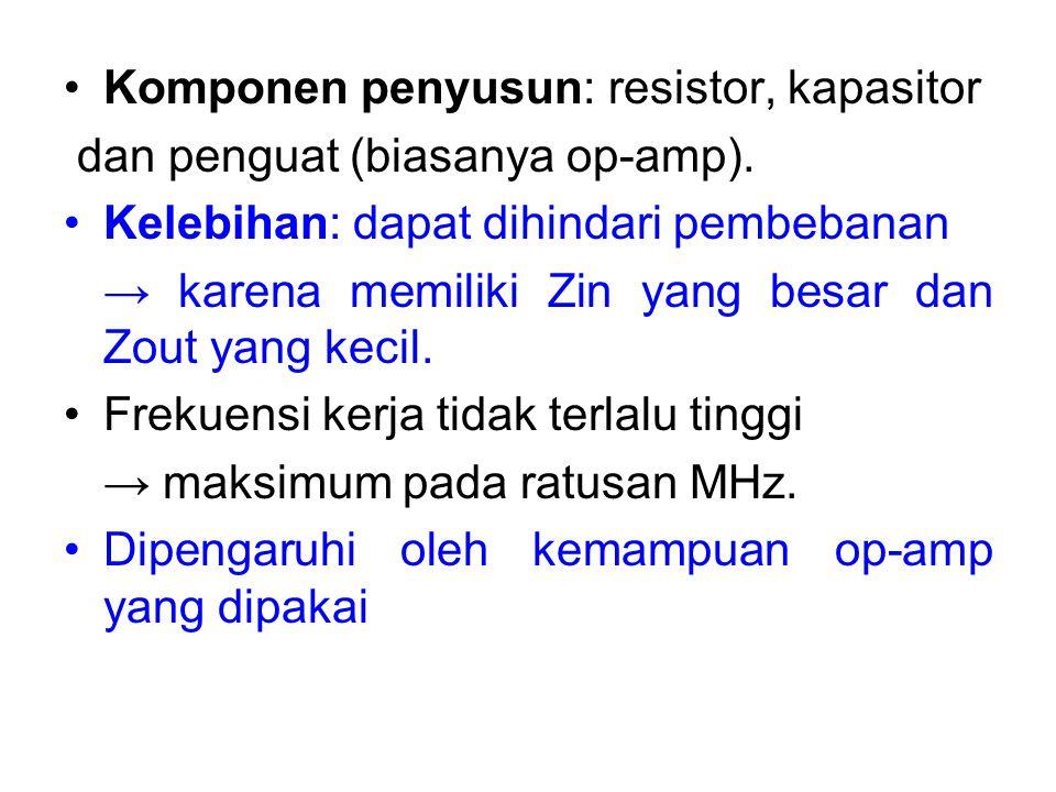 Komponen penyusun: resistor, kapasitor