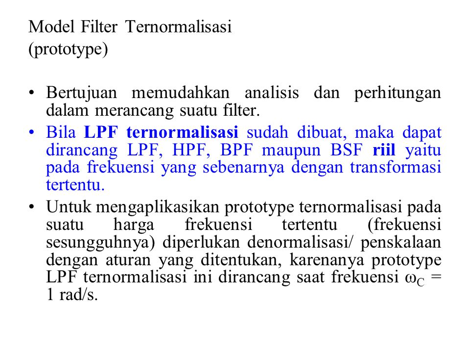 Model Filter Ternormalisasi (prototype)