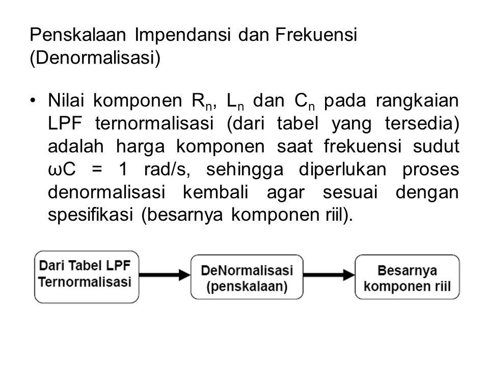 Penskalaan Impendansi dan Frekuensi (Denormalisasi)
