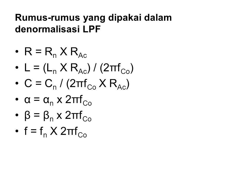 Rumus-rumus yang dipakai dalam denormalisasi LPF