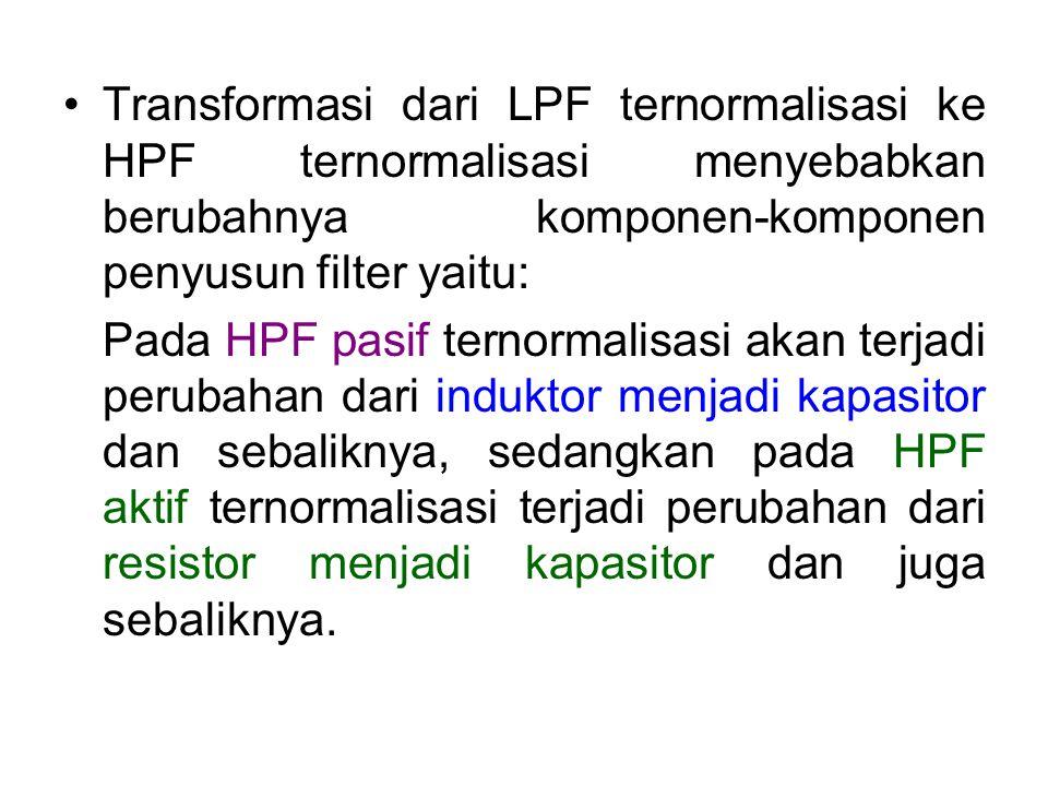 Transformasi dari LPF ternormalisasi ke HPF ternormalisasi menyebabkan berubahnya komponen-komponen penyusun filter yaitu: