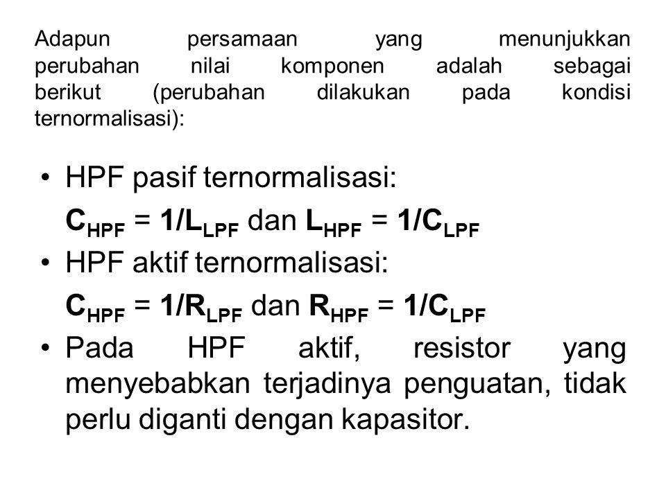 HPF pasif ternormalisasi: CHPF = 1/LLPF dan LHPF = 1/CLPF