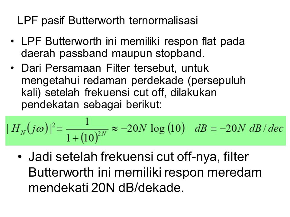 LPF pasif Butterworth ternormalisasi