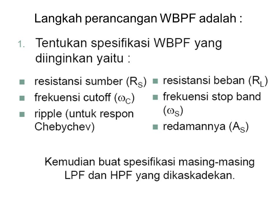 Langkah perancangan WBPF adalah :
