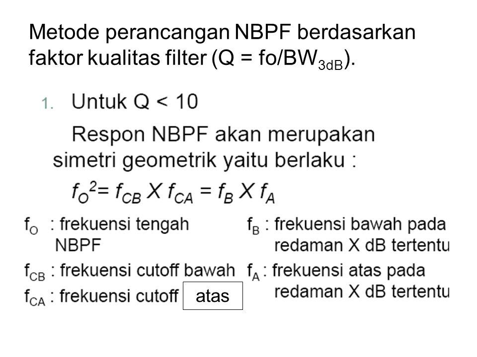 Metode perancangan NBPF berdasarkan faktor kualitas filter (Q = fo/BW3dB).