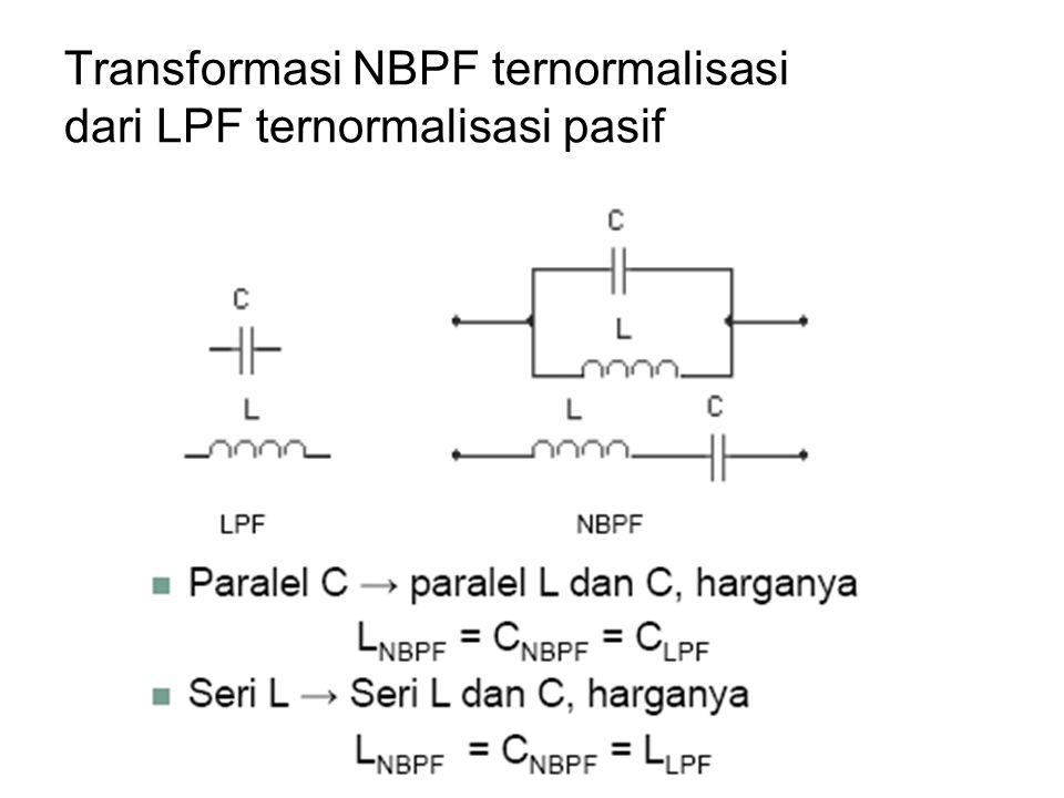 Transformasi NBPF ternormalisasi dari LPF ternormalisasi pasif