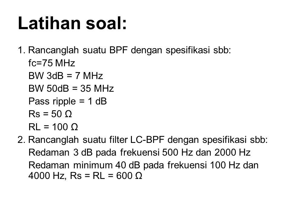 Latihan soal: 1. Rancanglah suatu BPF dengan spesifikasi sbb: