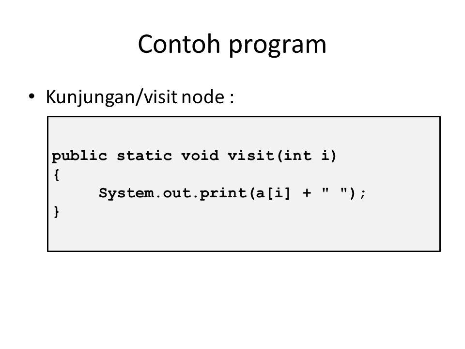 Contoh program Kunjungan/visit node : public static void visit(int i)