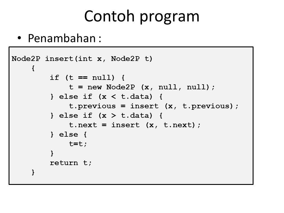 Contoh program Penambahan : Node2P insert(int x, Node2P t) {