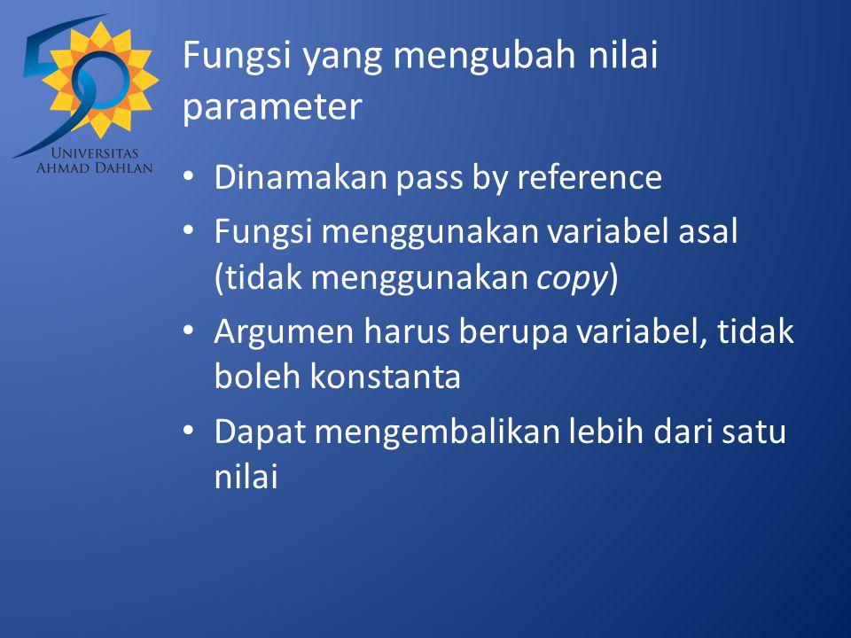 Fungsi yang mengubah nilai parameter