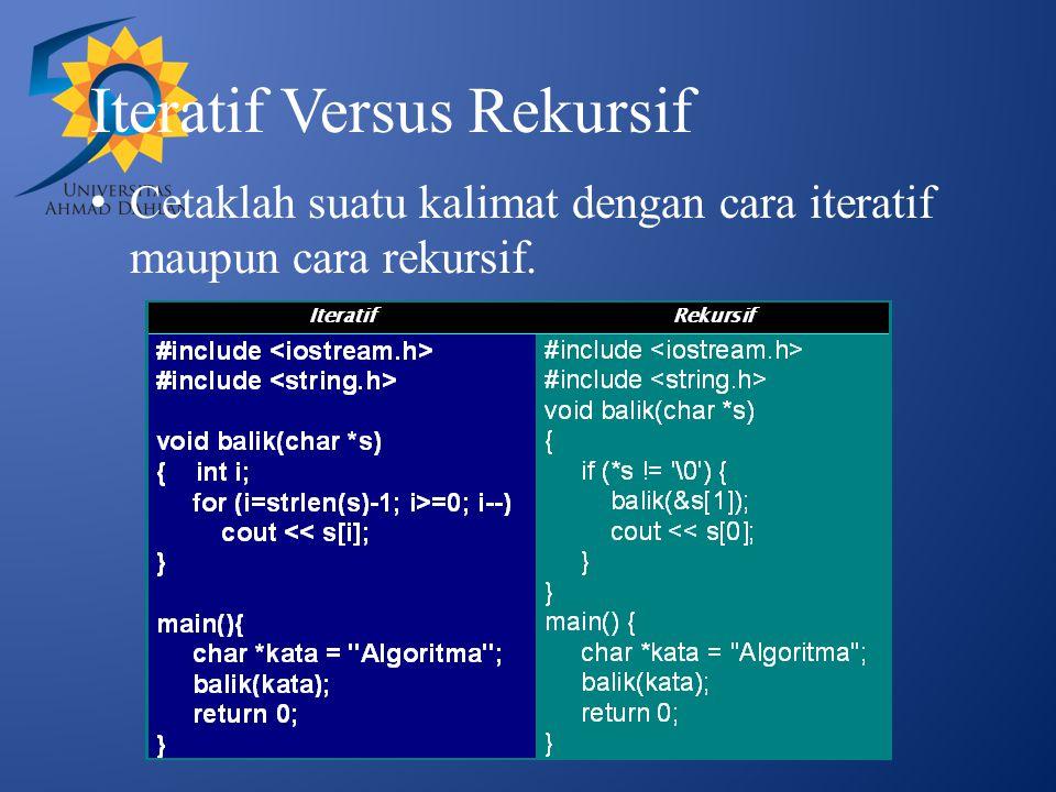 Iteratif Versus Rekursif
