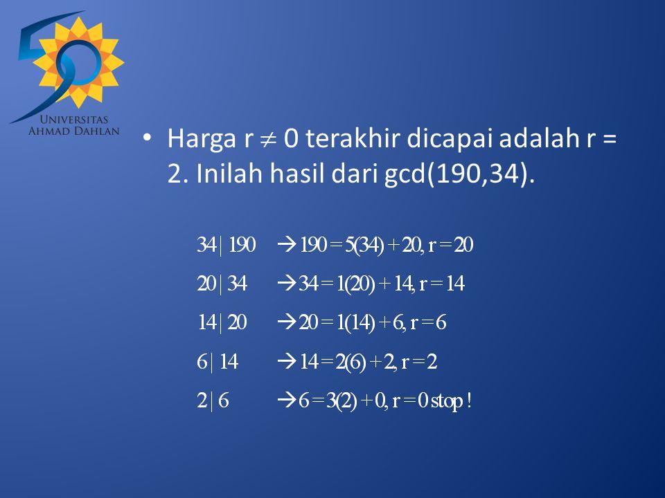Harga r  0 terakhir dicapai adalah r = 2