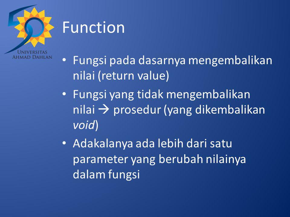 Function Fungsi pada dasarnya mengembalikan nilai (return value)