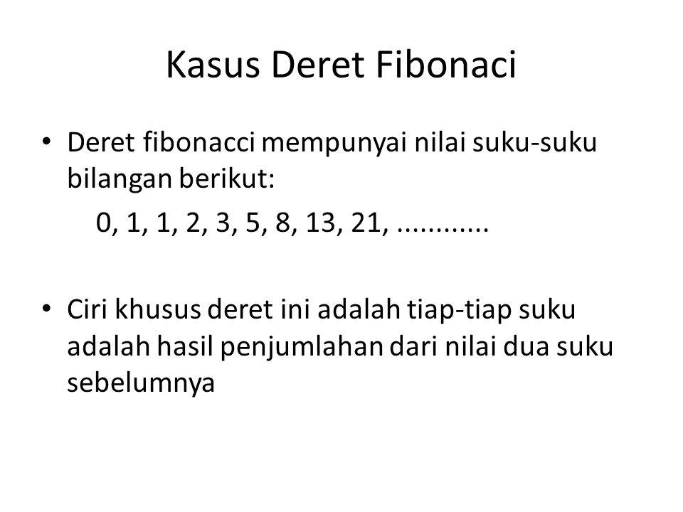 Kasus Deret Fibonaci Deret fibonacci mempunyai nilai suku-suku bilangan berikut: 0, 1, 1, 2, 3, 5, 8, 13, 21, ............