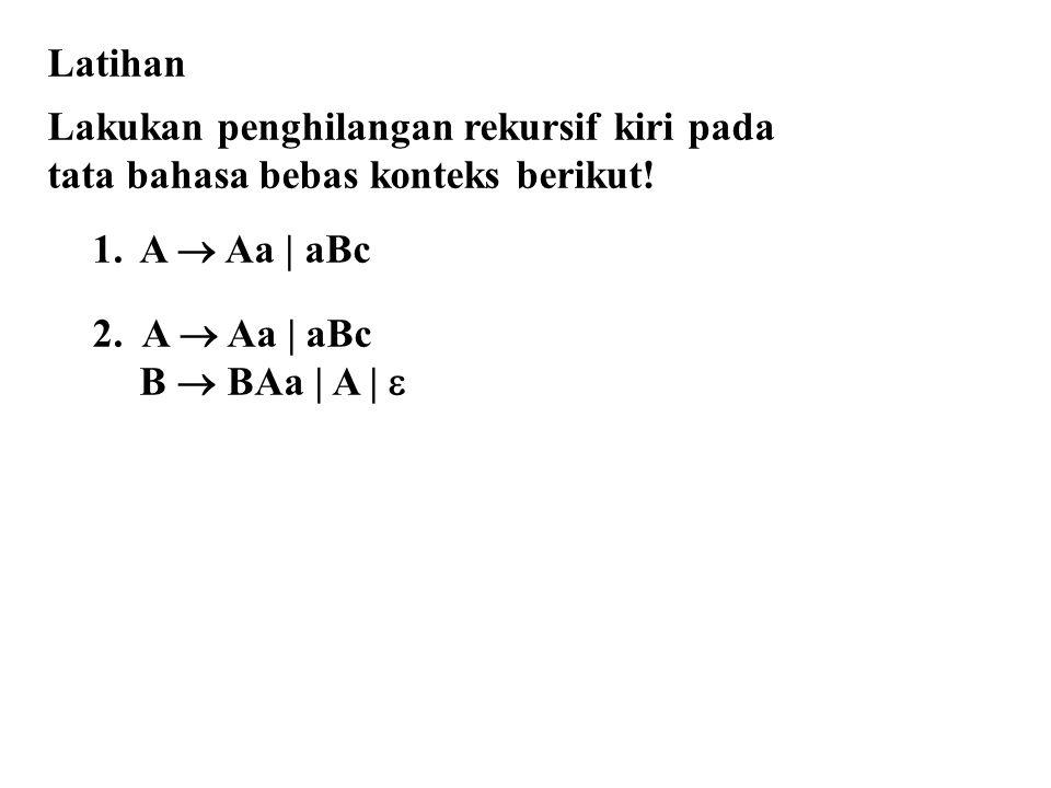 Latihan Lakukan penghilangan rekursif kiri pada. tata bahasa bebas konteks berikut! A  Aa | aBc.