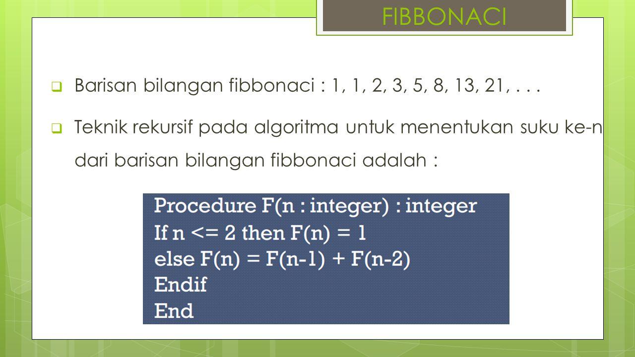 FIBBONACI Barisan bilangan fibbonaci : 1, 1, 2, 3, 5, 8, 13, 21, . . .