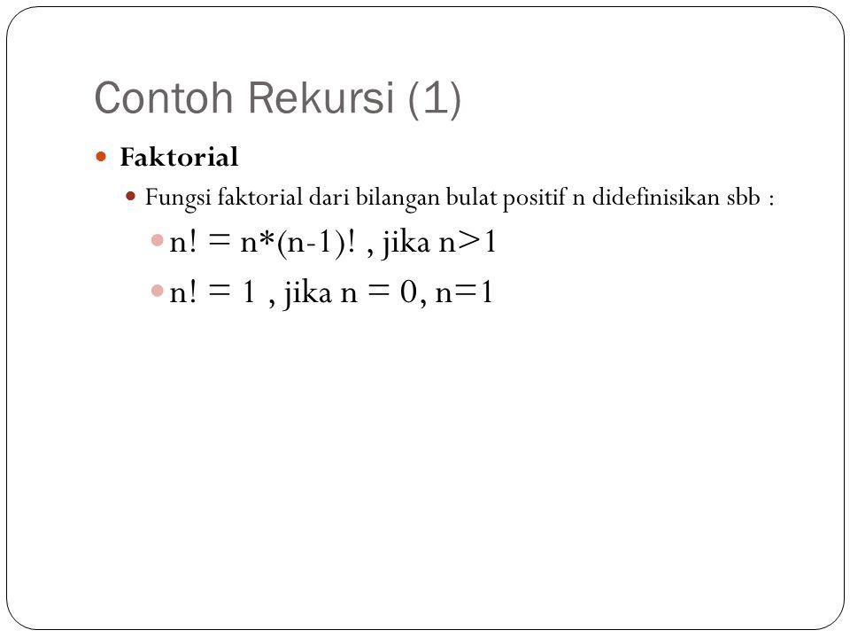 Contoh Rekursi (1) n! = n*(n-1)! , jika n>1