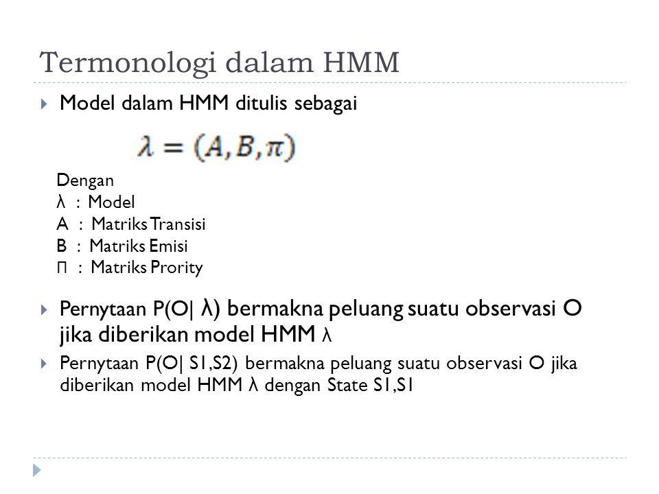 Termonologi dalam HMM Model dalam HMM ditulis sebagai