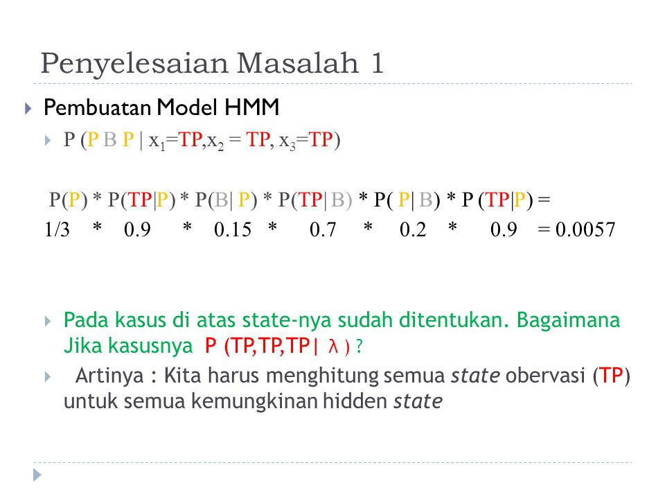Penyelesaian Masalah 1 Pembuatan Model HMM