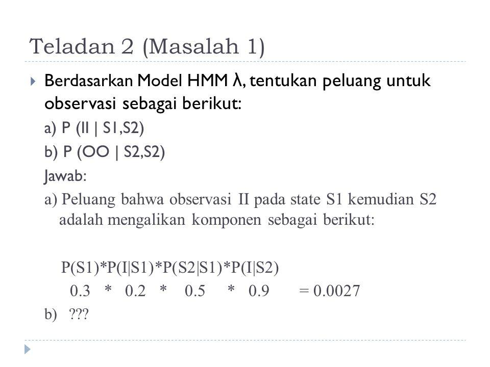 Teladan 2 (Masalah 1) Berdasarkan Model HMM λ, tentukan peluang untuk observasi sebagai berikut: a) P (II | S1,S2)