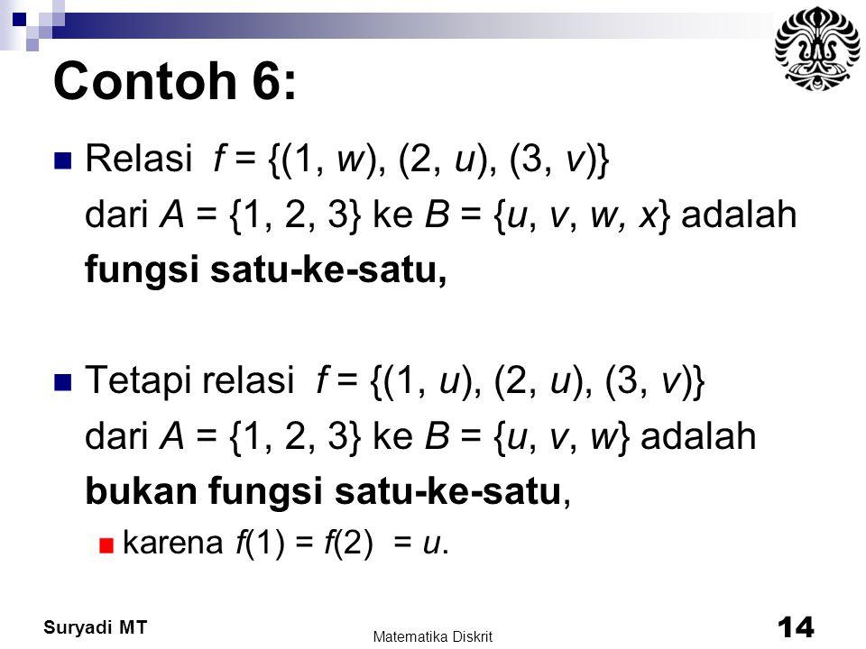 Contoh 6: Relasi f = {(1, w), (2, u), (3, v)}