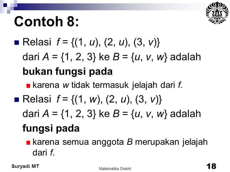 Contoh 8: Relasi f = {(1, u), (2, u), (3, v)}