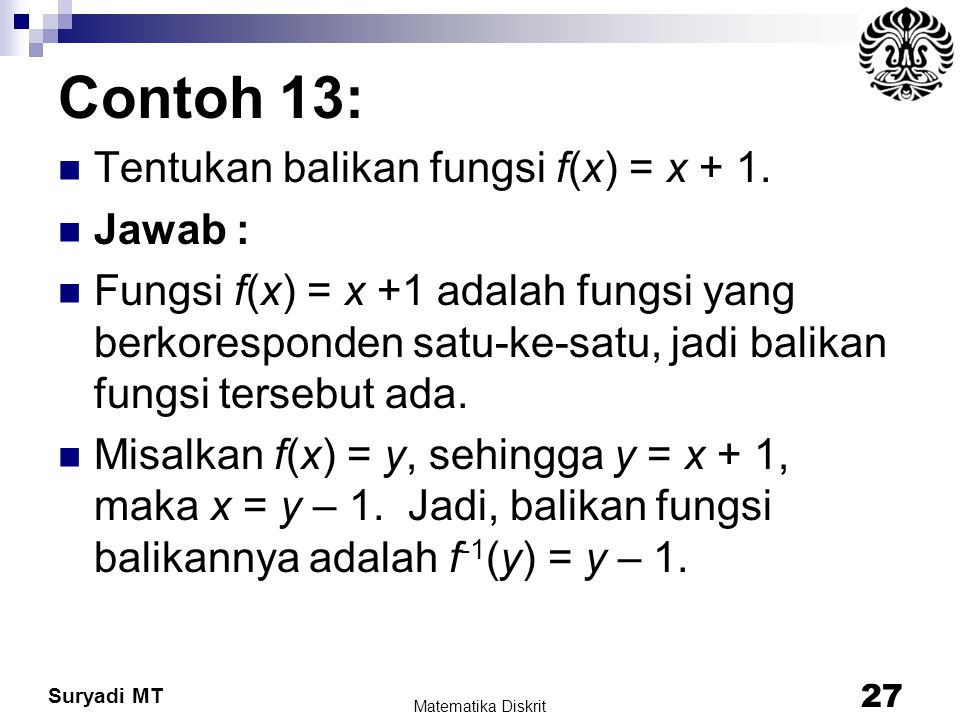 Contoh 13: Tentukan balikan fungsi f(x) = x + 1. Jawab :