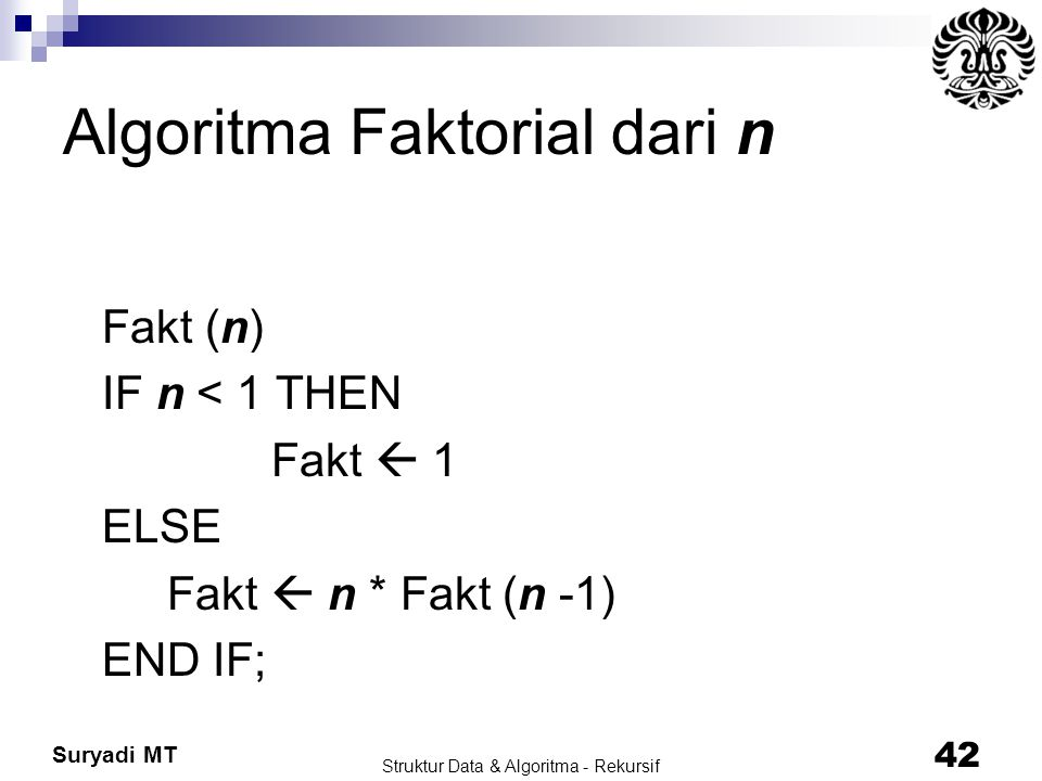 Algoritma Faktorial dari n