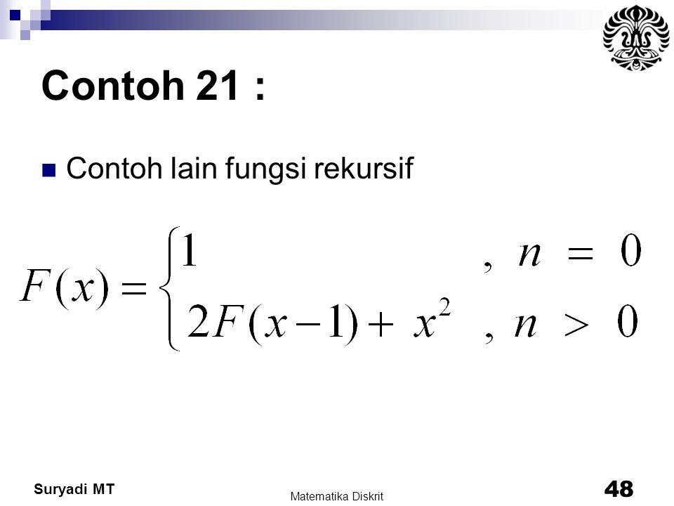 Contoh 21 : Contoh lain fungsi rekursif Matematika Diskrit