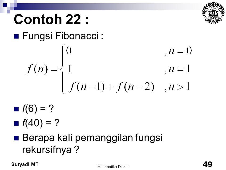 Contoh 22 : Fungsi Fibonacci : f(6) = f(40) =