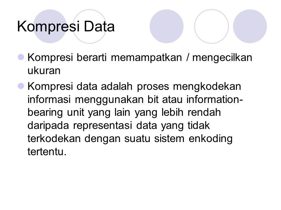 Kompresi Data Kompresi berarti memampatkan / mengecilkan ukuran