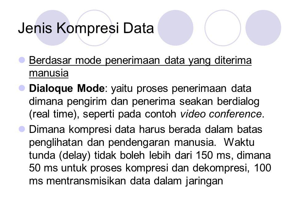 Jenis Kompresi Data Berdasar mode penerimaan data yang diterima manusia.
