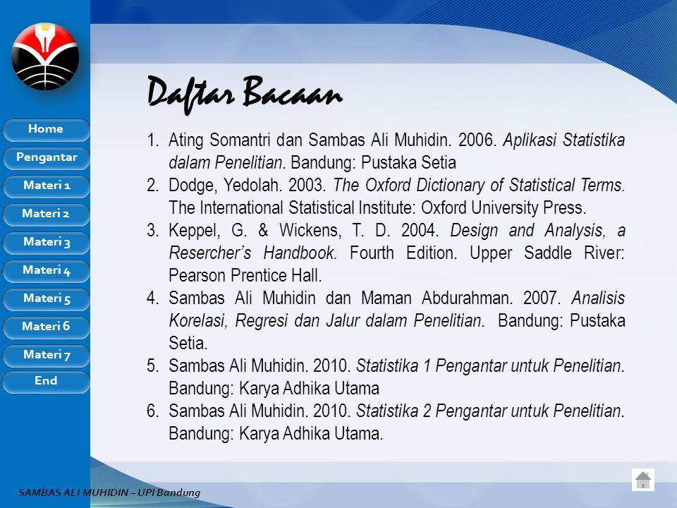 Daftar Bacaan Ating Somantri dan Sambas Ali Muhidin. 2006. Aplikasi Statistika dalam Penelitian. Bandung: Pustaka Setia.