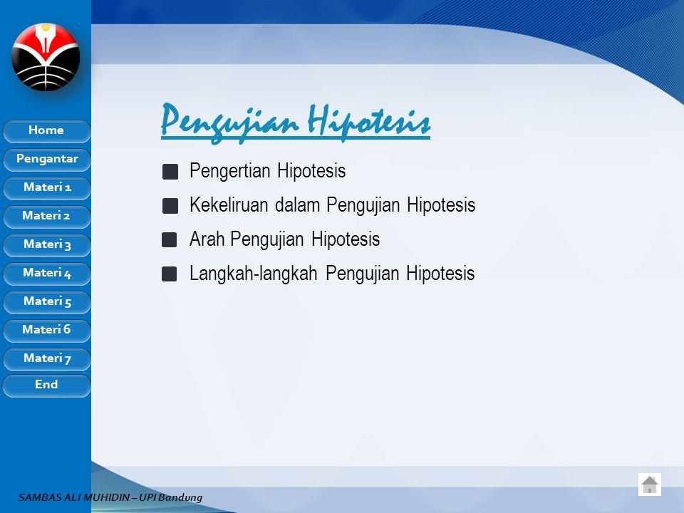 Pengujian Hipotesis Pengertian Hipotesis