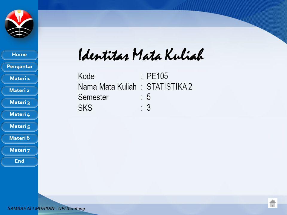 Identitas Mata Kuliah Kode : PE105 Nama Mata Kuliah : STATISTIKA 2