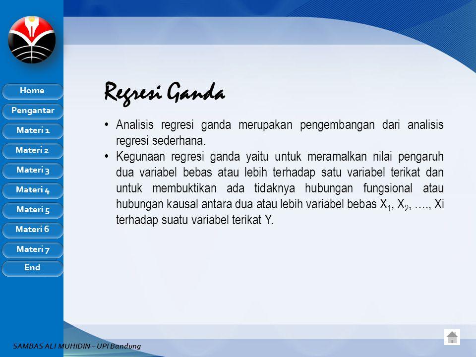 Regresi Ganda Analisis regresi ganda merupakan pengembangan dari analisis regresi sederhana.
