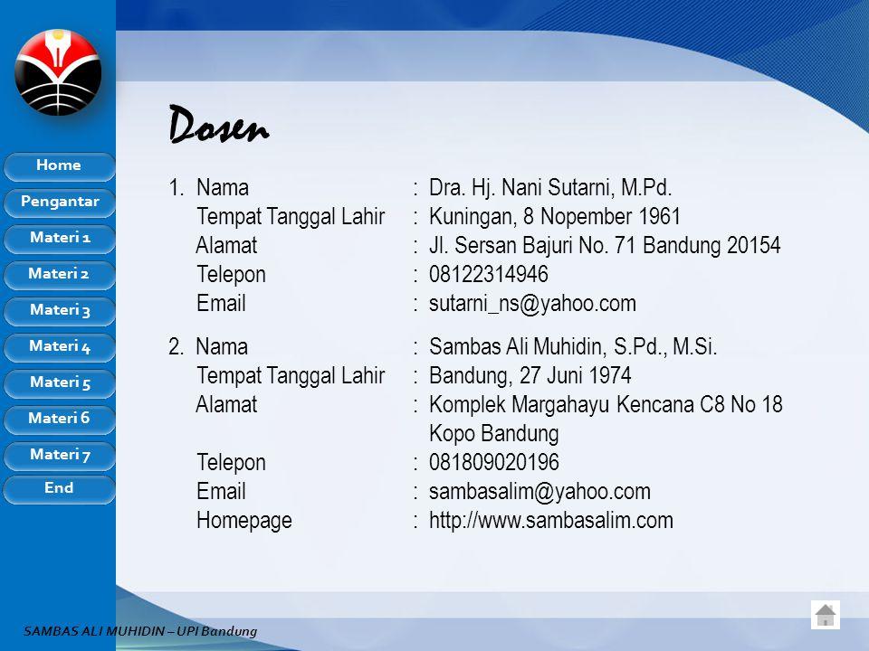 Dosen Nama : Dra. Hj. Nani Sutarni, M.Pd.
