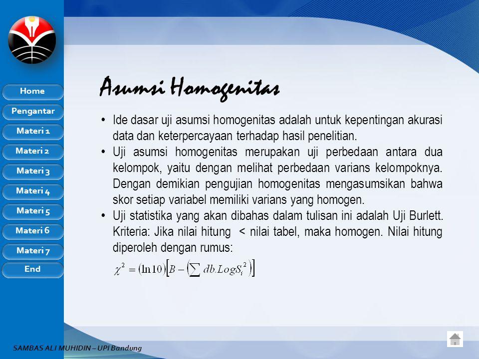 Asumsi Homogenitas Ide dasar uji asumsi homogenitas adalah untuk kepentingan akurasi data dan keterpercayaan terhadap hasil penelitian.