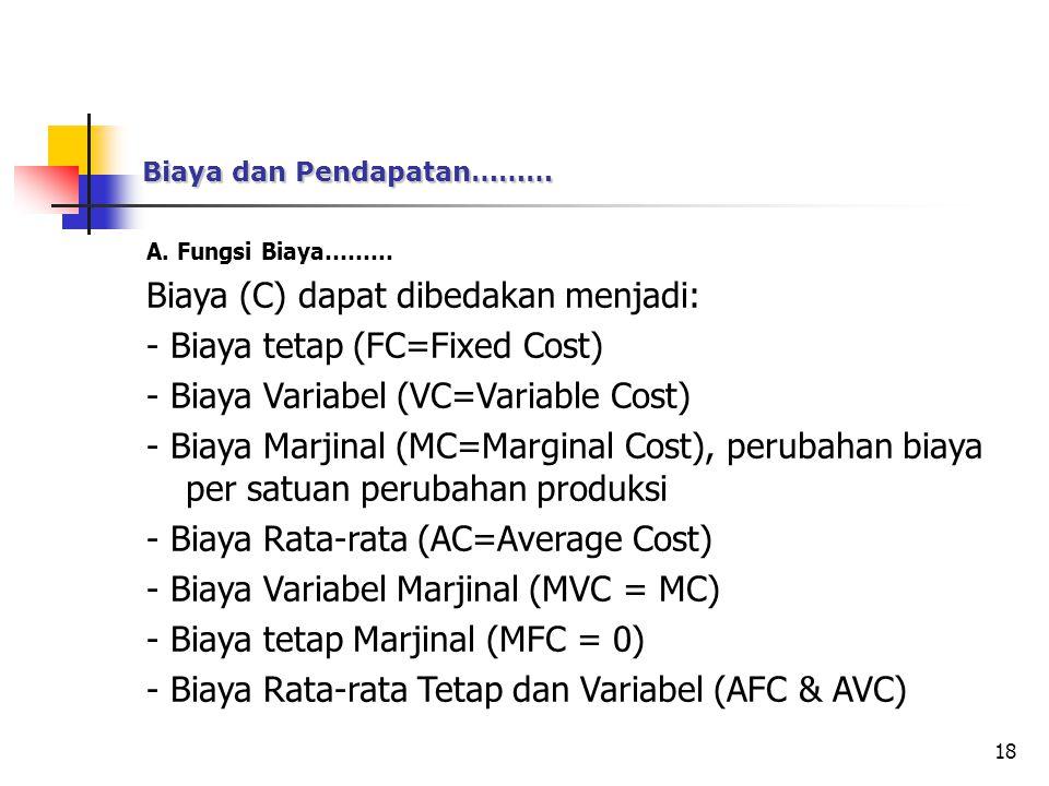 Biaya (C) dapat dibedakan menjadi: - Biaya tetap (FC=Fixed Cost)