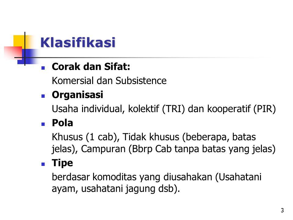 Klasifikasi Corak dan Sifat: Komersial dan Subsistence Organisasi