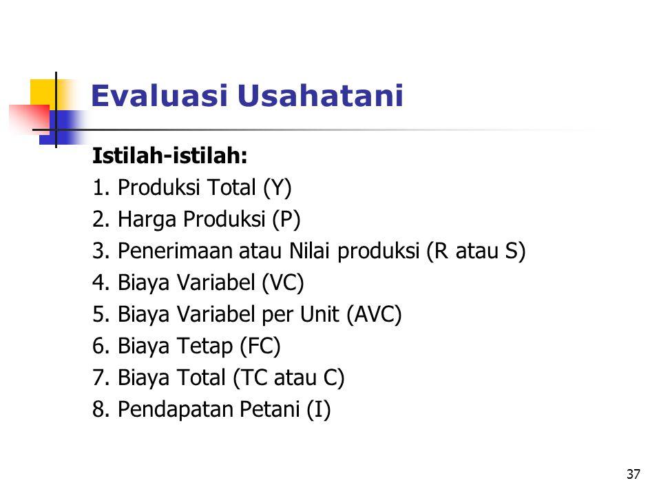 Evaluasi Usahatani Istilah-istilah: 1. Produksi Total (Y)