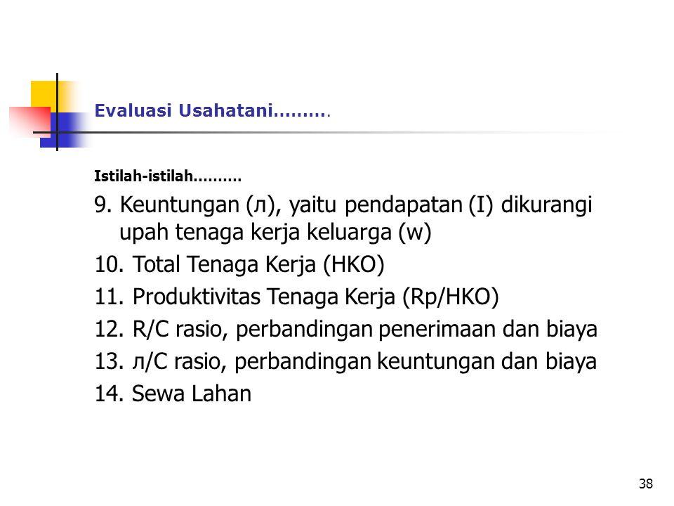 10. Total Tenaga Kerja (HKO) 11. Produktivitas Tenaga Kerja (Rp/HKO)