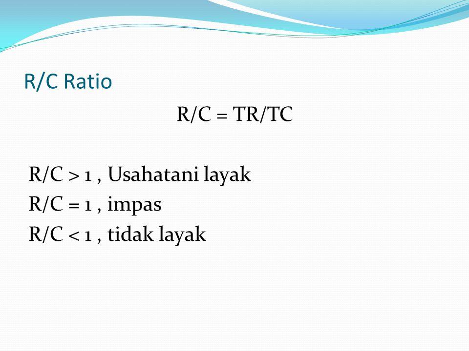 R/C Ratio R/C = TR/TC R/C > 1 , Usahatani layak R/C = 1 , impas R/C < 1 , tidak layak