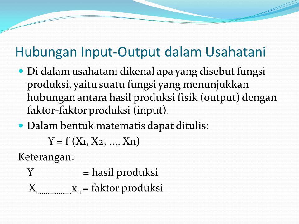 Hubungan Input-Output dalam Usahatani